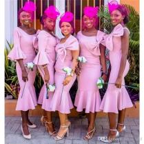 African Pink Bridesmaid Dresses One Shoulder With Bow Tea Length