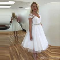 Discount Vintage Midi Wedding Dresses Cap Sleeves A Line Garden