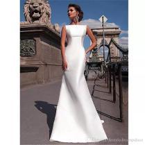 2018 Simple White Satin Mermaid Wedding Dresses Sleeveless Sweep