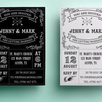 Retro Wedding Invitation Template, Printable Wedding Invitation