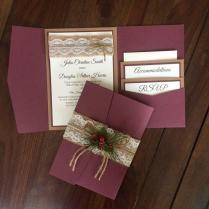 Rustic Vintage Winter Christmas Wedding Invitation Suite Shabby