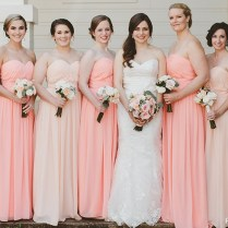 Pink Bridesmaid Dresses, Blush Peach Bridesmaid Gowns At
