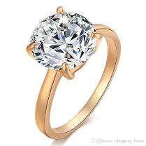 Sim18k Yellow Gold Plated Sparky Aaa Clear Crystal Ring Luxury Big