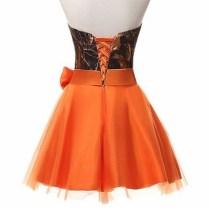 Strapless Hunter Orange Camo Bridesmaid Dresses Short 2017 Size 0