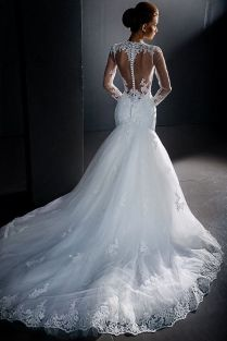 Stunning Lace Wedding Dress Long Sleeves Wedding Dress Sheer Back