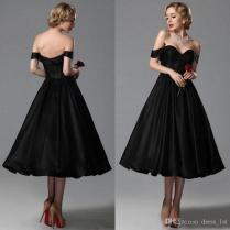 Vintage 2016 Black Tea Length Bridesmaid Dresses Cheap Sweetheart
