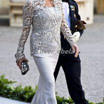 Vintage Mother Bride Dress Suits Plus Size Silver Lace Strapless
