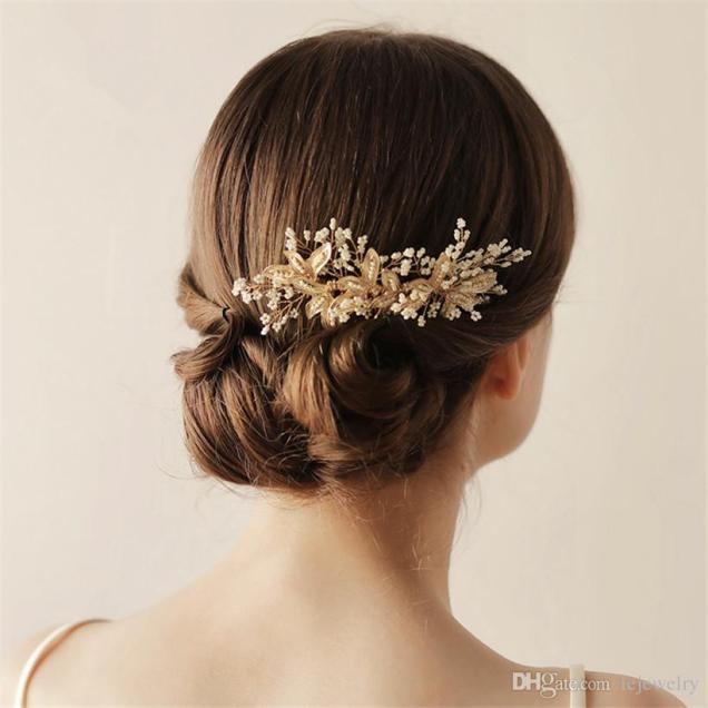 2019 Vintage Wedding Bridal Hair Comb Headpiece Gold Crystal