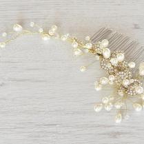 Wedding Pearl Hair Piece, Gold Vine Hair Piece, Bridal Hair Comb