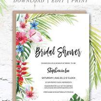 Hawaiian Tropical Bridal Shower Invitation Printable Template