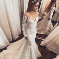 Mermaid Illusion Bateau Long Sleeves Tulle Wedding Dress With
