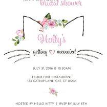 Cat Themed Bridal Shower Invitation Meow Catbridalshower