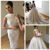 2018 Vintage Slim Lace Sheath Wedding Dresses With Detachable