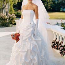 David's Bridal Strapless Satin Corset Gown