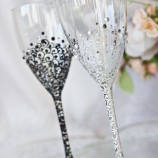 White And Black Personalized Wedding Set Champagne Flutes, Mr