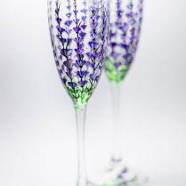 Personalized Champagne Flutes Lavender Wedding Glasses Hand
