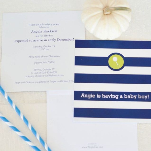 Navy And White Modern Striped Baby Shower Invitations From Purple