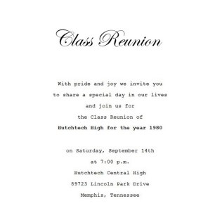 Class Reunion Invitation 4 Wording
