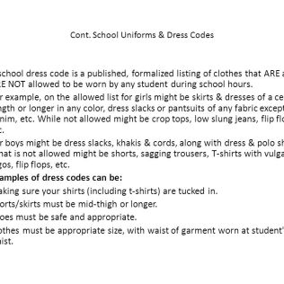 School Uniforms & Dress Codes
