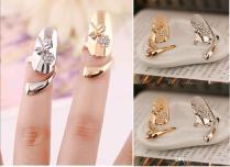 Cute Exquisite Queen Dragonfly Design Rhinestone Plum Snake Gold