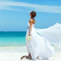 Awesome Beach Wedding Dress Flying On A Breeze Bride Beach