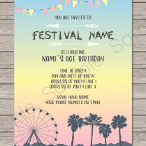 Coachella Themed Party Invitations Template – Pastel Colors In