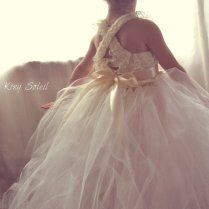 Lace And Tulle Flower Girl Dress Tutu Satin Sash Vintage Ivory