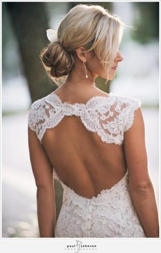 Monique Lhuillier Scarlet French Lace Open Back Wedding Dress
