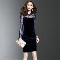 Ladies Office Dresses Women Long Sleeve Vintage Lace Sheath Dress