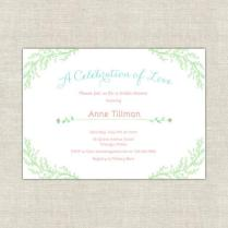 Mint Green & Coral Bridal Shower Invitations, Petite Garden Bridal