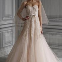 Monique Lhuillier Blush Tulle Candy Traditional Wedding Dress Size