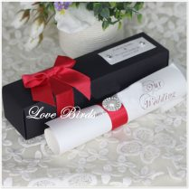 New Coming ! Black Scroll Wedding Invitation Card With Red Ribbon