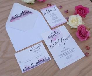 New York City Wedding Invitation Handpainted With Watercolors