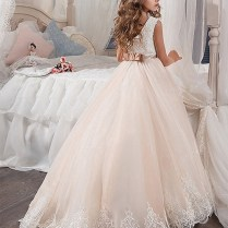 Ball Gown Jewel Sleeveless Lace Sweep Brush Train Tulle Flower
