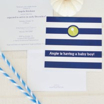 Navy And White Striped Modern Baby Shower Invitations From Purple