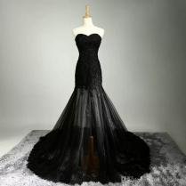 Gothic Design Vintage Mermaid Black Wedding Dresses Sweetheart