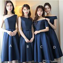 Navy Blue Satin Bridesmaid Dresses Short 2019 Knee Length Wedding