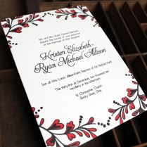 Kristen Ryan's Red And Black New Year's Eve Wedding Invitations