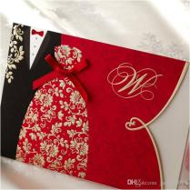 Red Black Gold Printing Couple Wedding Invitations Cards With