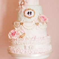 Vintage Birdcage Wedding Cake With Sugar Ruffles And Flower