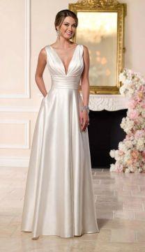 Simple Elegant Satin Wedding Dress For Older Brides Over 40, 50