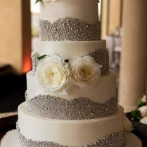 White And Silver Buttercream Wedding Cake By Party Flavors Custom
