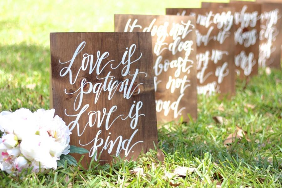 1 Corinthians 13 Wedding Aisle Signs, Love Is Patient, Love Is