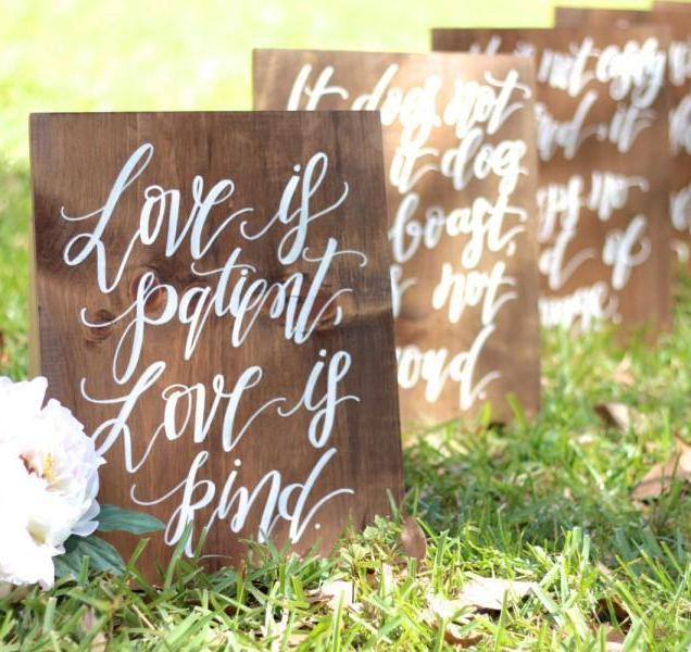 1 Corinthians 13 Wedding Aisle Signs, Love Is Patient, Love Is