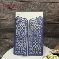 30pcs Pearl Blue Laser Cut Wedding Invitations Cards, Paper Royal