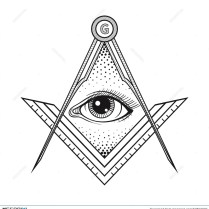 Masonic Square And Compass Symbol With All Seeing Eye , Freemason