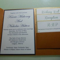 Customized Peal Brown Pocket Fold Wedding Invitations With Rsvp