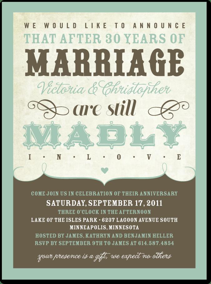 10 Year Wedding Anniversary Invitations
