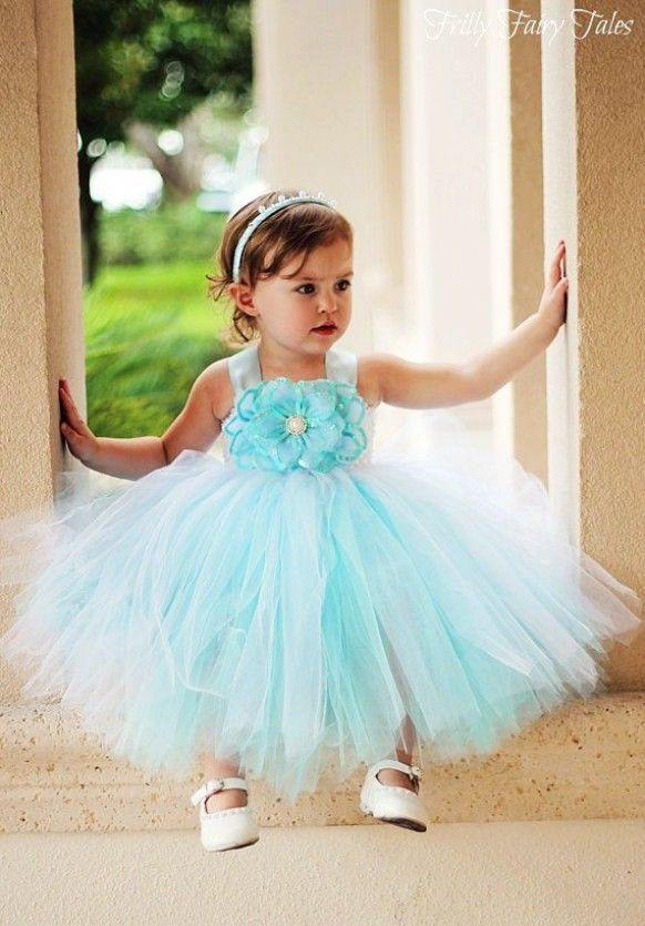 ad6a492148d Tiffany Blue Flower Girl Dress