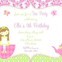 Fifth Birthday Party Invitation Wording Packed With A Tea